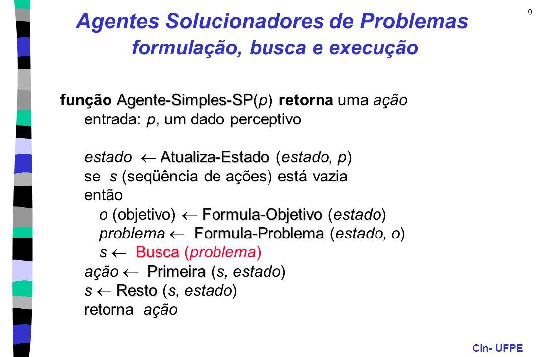 CIn- UFPE 9 Agentes Solucionadores de Problemas formulação, busca e execução Agente-Simples-SP função Agente-Simples-SP(p) retorna uma ação entrada: p