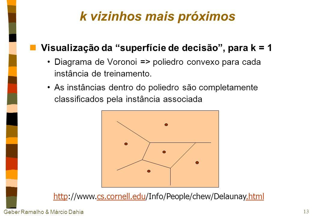 Geber Ramalho & Márcio Dahia 12 nCaso contínuo exemplo = filme = classificação f = recomendação r Z, r = [1...5] r(x 1 ) = 4, r(x 2 ) = 3, r(x 3 ) = 5