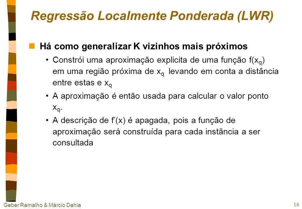 Geber Ramalho & Márcio Dahia 15 k vizinhos mais próximos nProblema da dimensionalidade Para calcular a distância entre os pontos, o método utiliza tod