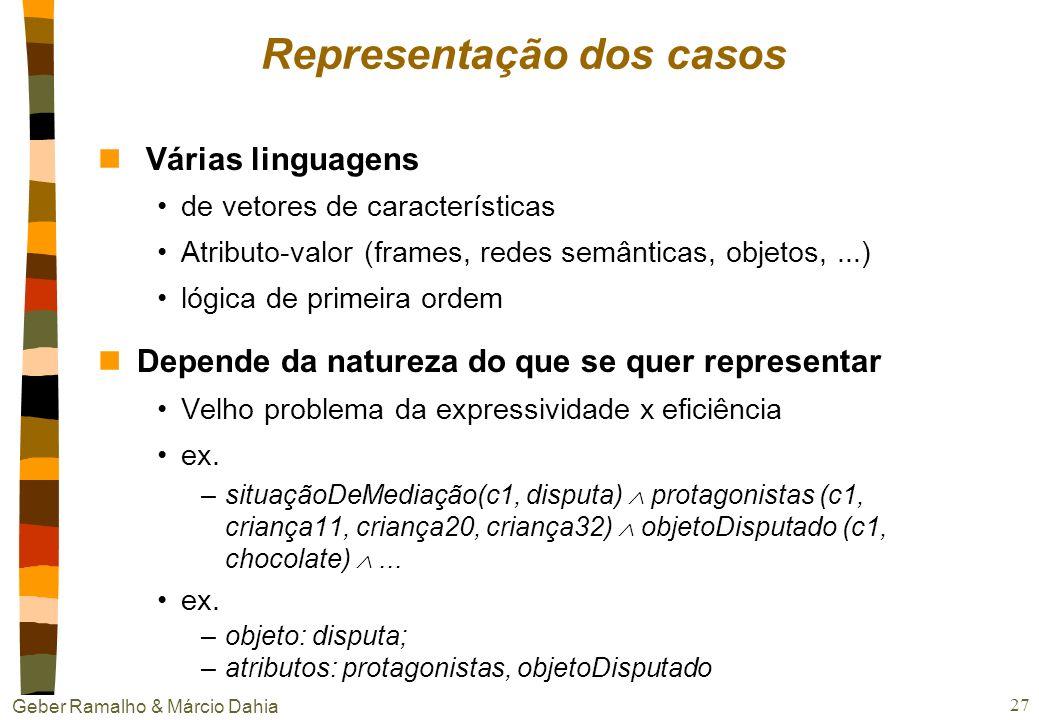 Geber Ramalho & Márcio Dahia 26 Natureza e conteúdo dos casos nPergunta chave O que é um caso no domínio abordado? nConteúdo Mínima: descrição do prob