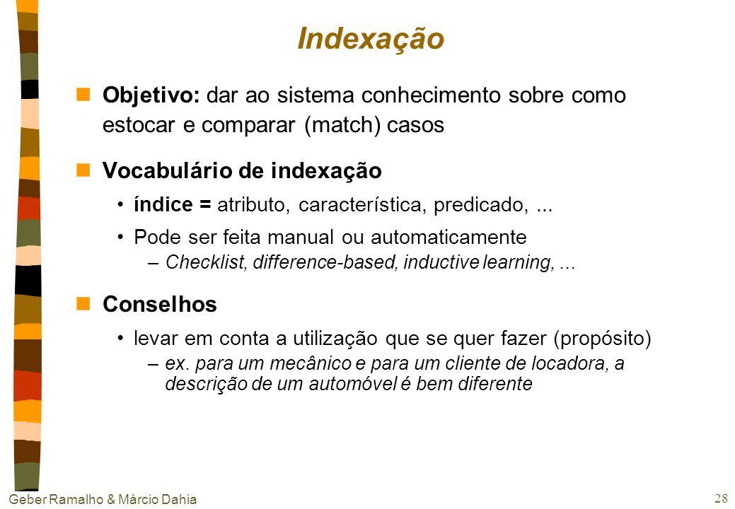 Geber Ramalho & Márcio Dahia 27 Representação dos casos n Várias linguagens de vetores de características Atributo-valor (frames, redes semânticas, ob