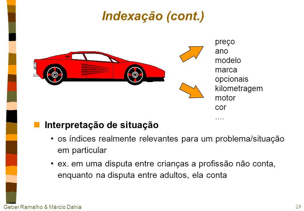 Geber Ramalho & Márcio Dahia 28 Indexação nObjetivo: dar ao sistema conhecimento sobre como estocar e comparar (match) casos nVocabulário de indexação