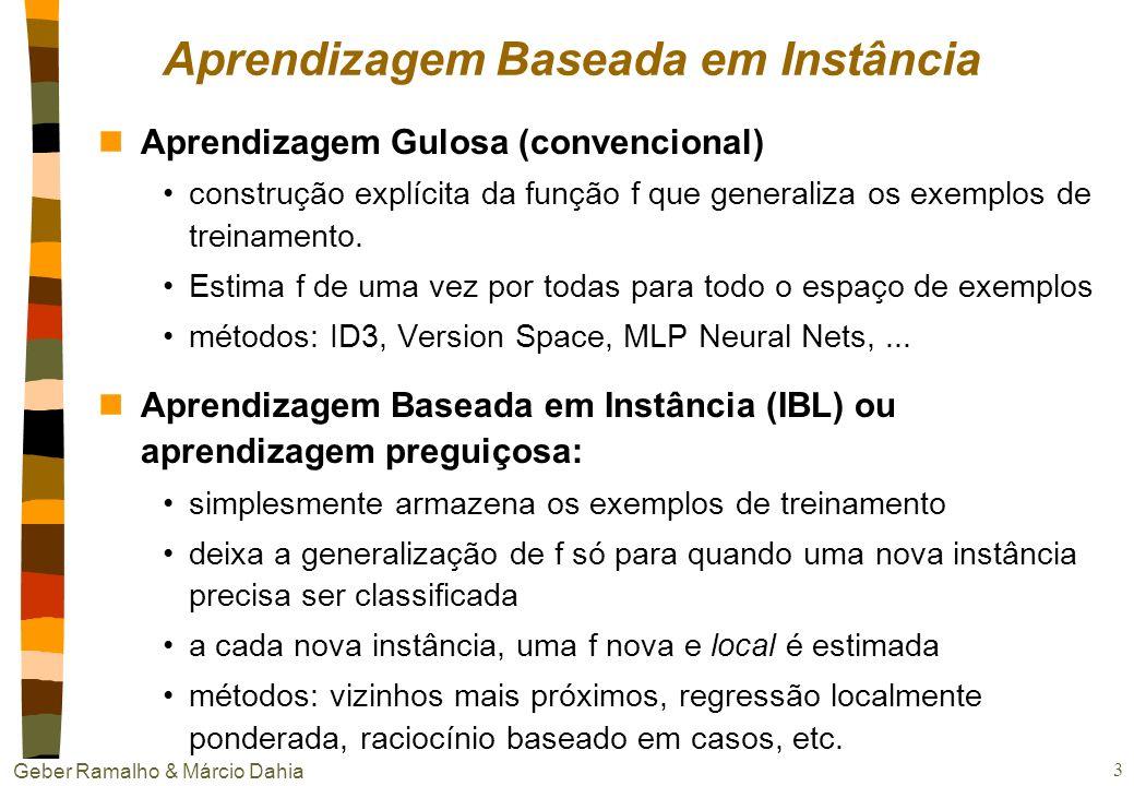 Geber Ramalho & Márcio Dahia 13 httphttp://www.cs.cornell.edu/Info/People/chew/Delaunay.htmlcs.cornell.edu.html k vizinhos mais próximos nVisualização da superfície de decisão, para k = 1 Diagrama de Voronoi => poliedro convexo para cada instância de treinamento.