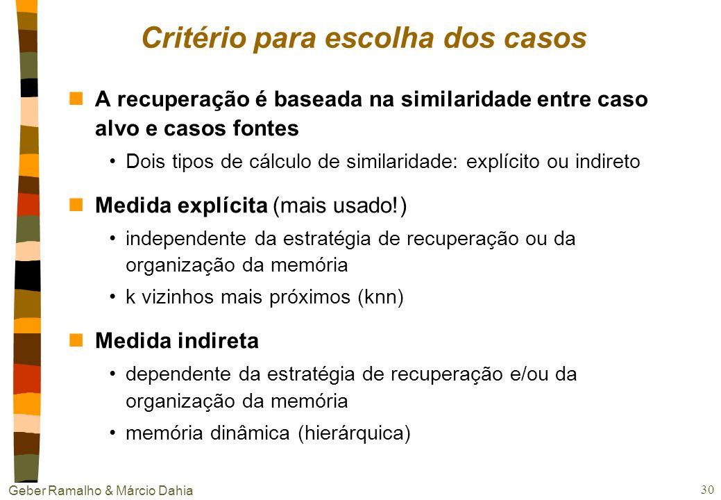Geber Ramalho & Márcio Dahia 29 Indexação (cont.) nInterpretação de situação os índices realmente relevantes para um problema/situação em particular e