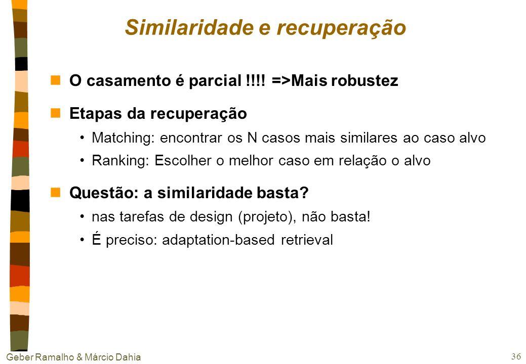 Geber Ramalho & Márcio Dahia 35 Organização da memória nTrade-offs: eficiência x completude –eficiência na inserção x eficiência na consulta –ordem fi