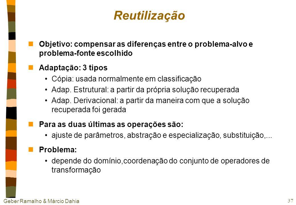 Geber Ramalho & Márcio Dahia 36 Similaridade e recuperação nO casamento é parcial !!!! =>Mais robustez nEtapas da recuperação Matching: encontrar os N