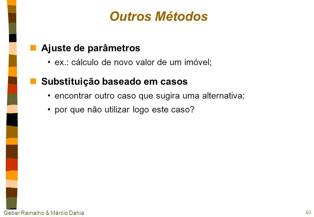 Geber Ramalho & Márcio Dahia 39 Exemplo de reutilização: reinstanciação nMétodo Determine os papéis dos envolvidos no caso retido; Faça a correspondên