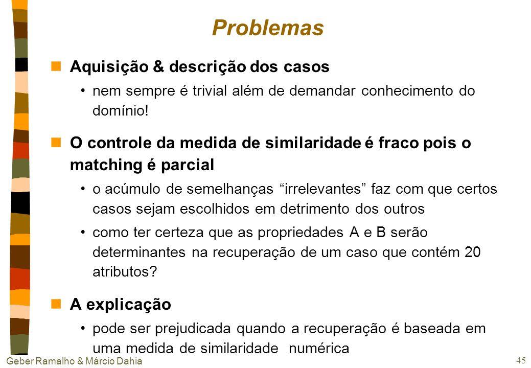 Geber Ramalho & Márcio Dahia 44 Algumas aplicações na WEB nFindMe agents sugere filmes e carros em locadoras raciocino através de exemplos busca não h