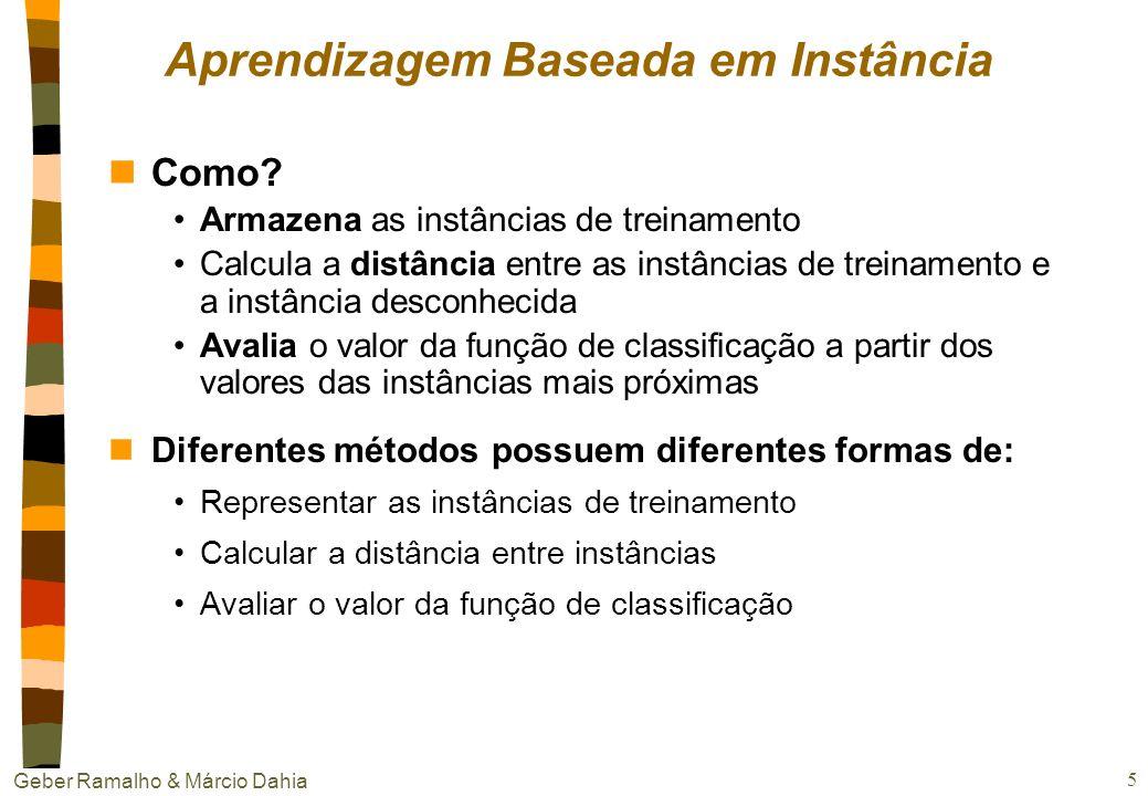 Geber Ramalho & Márcio Dahia 5 Aprendizagem Baseada em Instância nComo.