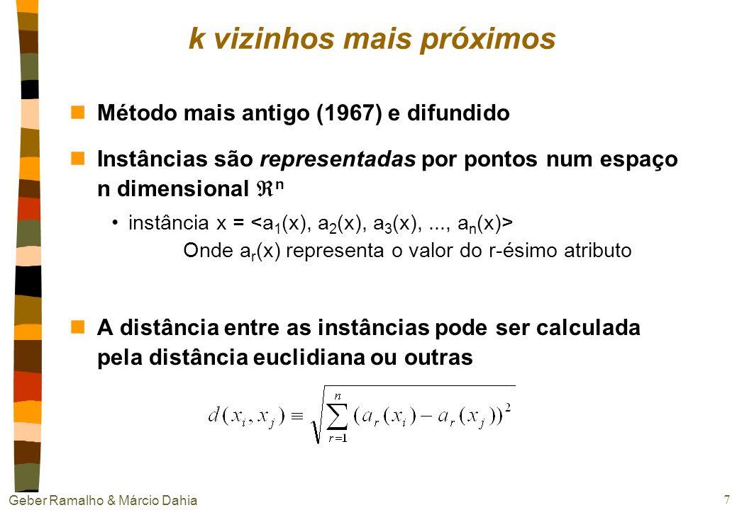 Geber Ramalho & Márcio Dahia 7 k vizinhos mais próximos nMétodo mais antigo (1967) e difundido nInstâncias são representadas por pontos num espaço n dimensional n instância x = Onde a r (x) representa o valor do r-ésimo atributo nA distância entre as instâncias pode ser calculada pela distância euclidiana ou outras