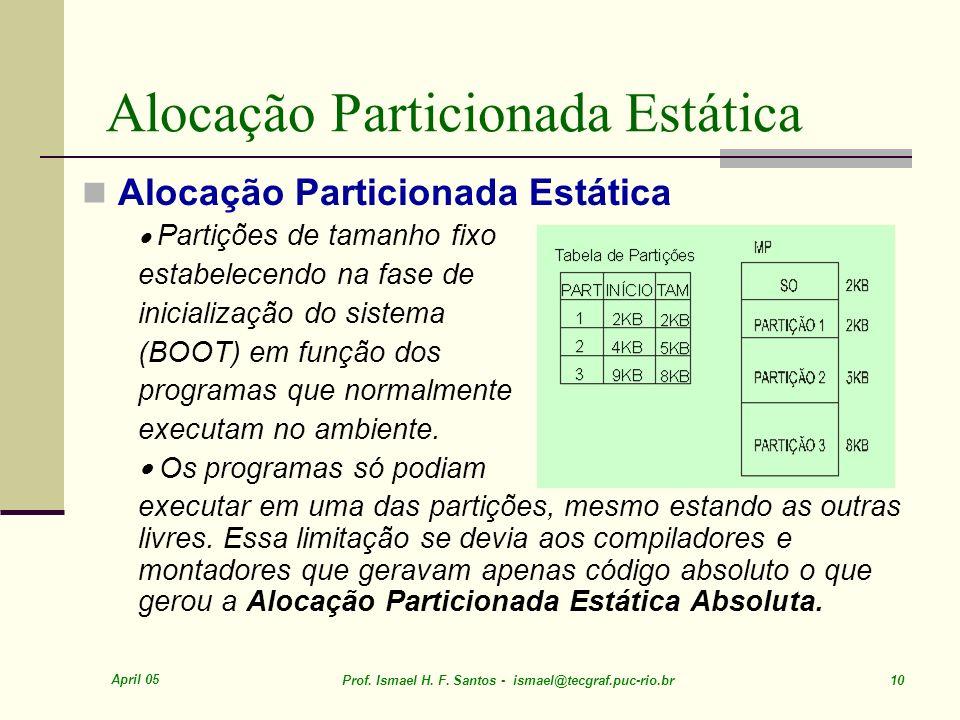 April 05 Prof. Ismael H. F. Santos - ismael@tecgraf.puc-rio.br 10 Alocação Particionada Estática Partições de tamanho fixo estabelecendo na fase de in