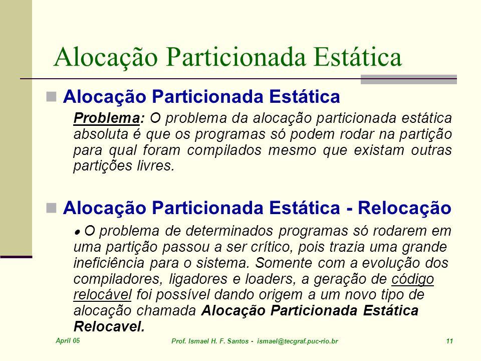 April 05 Prof. Ismael H. F. Santos - ismael@tecgraf.puc-rio.br 11 Alocação Particionada Estática Problema: O problema da alocação particionada estátic