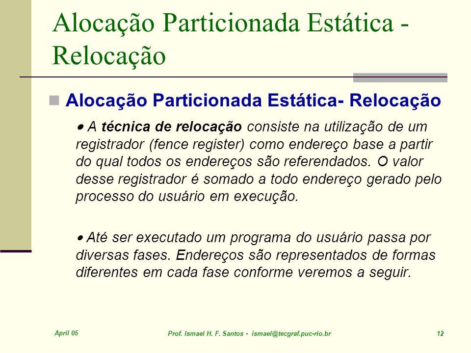 April 05 Prof. Ismael H. F. Santos - ismael@tecgraf.puc-rio.br 12 Alocação Particionada Estática - Relocação A técnica de relocação consiste na utiliz