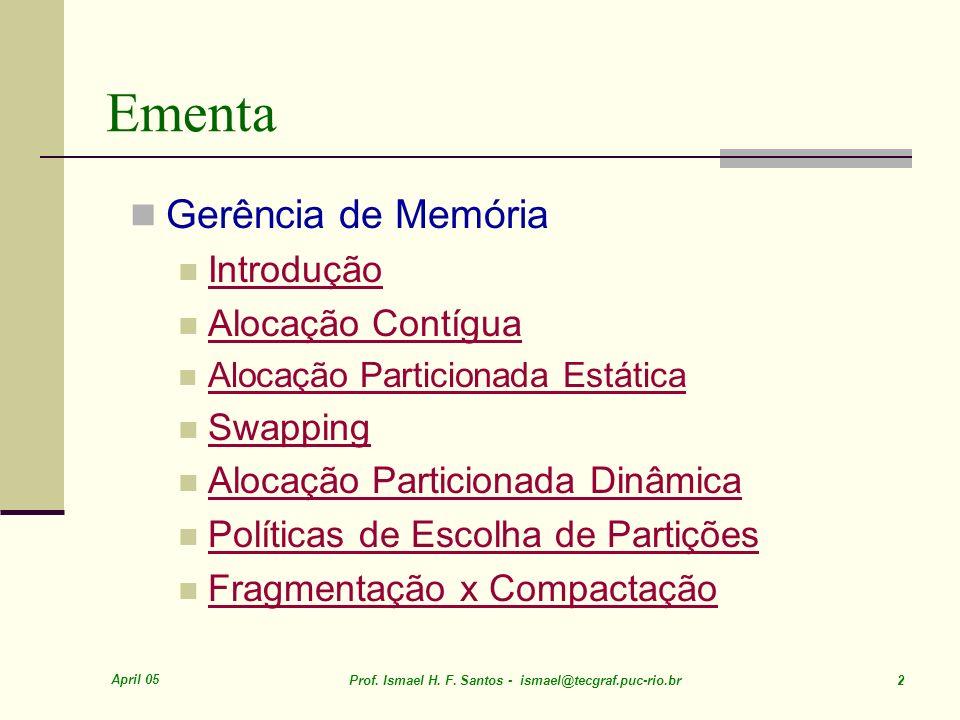 April 05 Prof. Ismael H. F. Santos - ismael@tecgraf.puc-rio.br 3 Gerência de Memória SOP – CO009