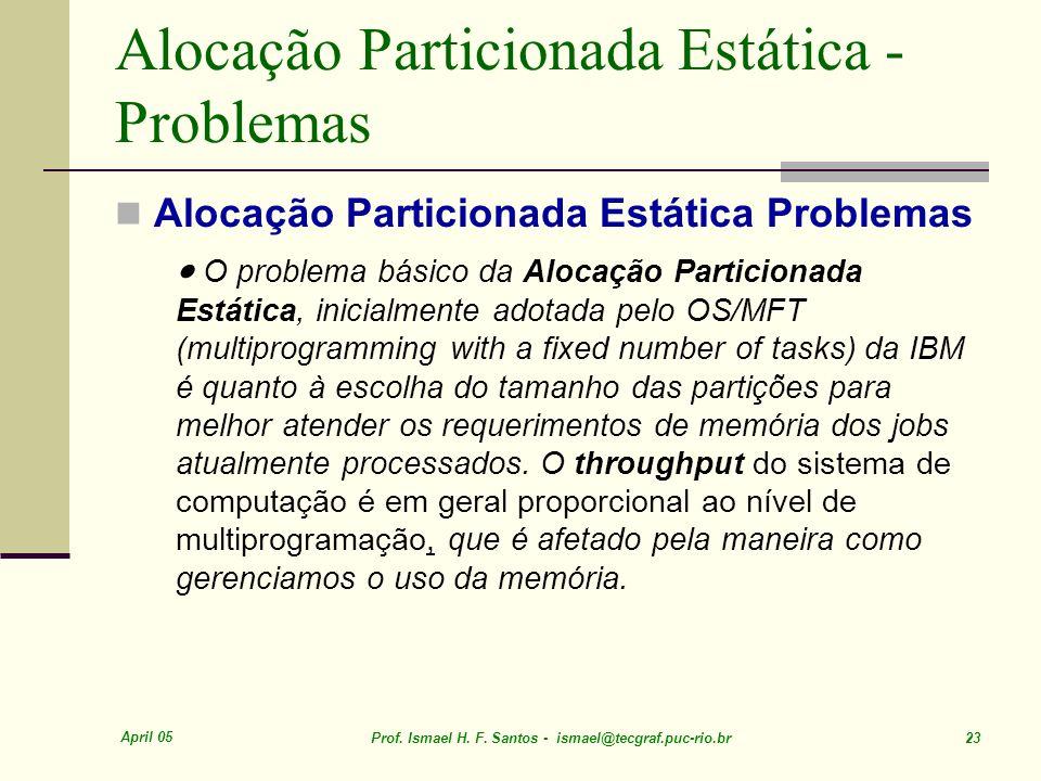 April 05 Prof. Ismael H. F. Santos - ismael@tecgraf.puc-rio.br 23 Alocação Particionada Estática - Problemas Alocação Particionada Estática Problemas