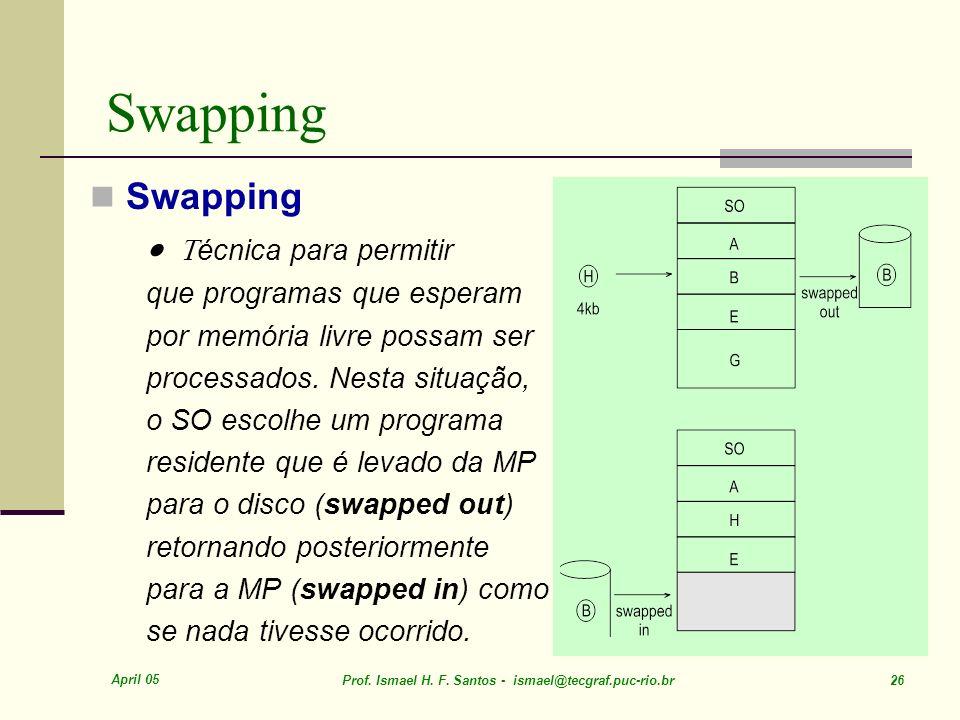 April 05 Prof. Ismael H. F. Santos - ismael@tecgraf.puc-rio.br 26 Swapping écnica para permitir que programas que esperam por memória livre possam ser