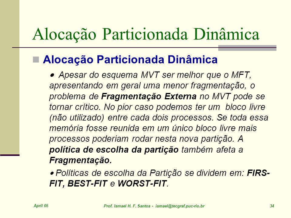 April 05 Prof. Ismael H. F. Santos - ismael@tecgraf.puc-rio.br 34 Alocação Particionada Dinâmica Apesar do esquema MVT ser melhor que o MFT, apresenta