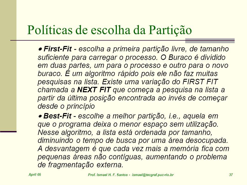 April 05 Prof. Ismael H. F. Santos - ismael@tecgraf.puc-rio.br 37 Políticas de escolha da Partição First-Fit - escolha a primeira partição livre, de t