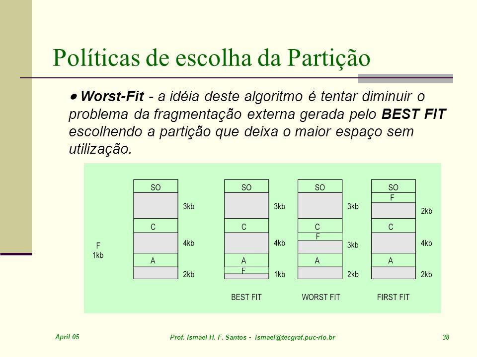 April 05 Prof. Ismael H. F. Santos - ismael@tecgraf.puc-rio.br 38 Políticas de escolha da Partição Worst-Fit - a idéia deste algoritmo é tentar diminu
