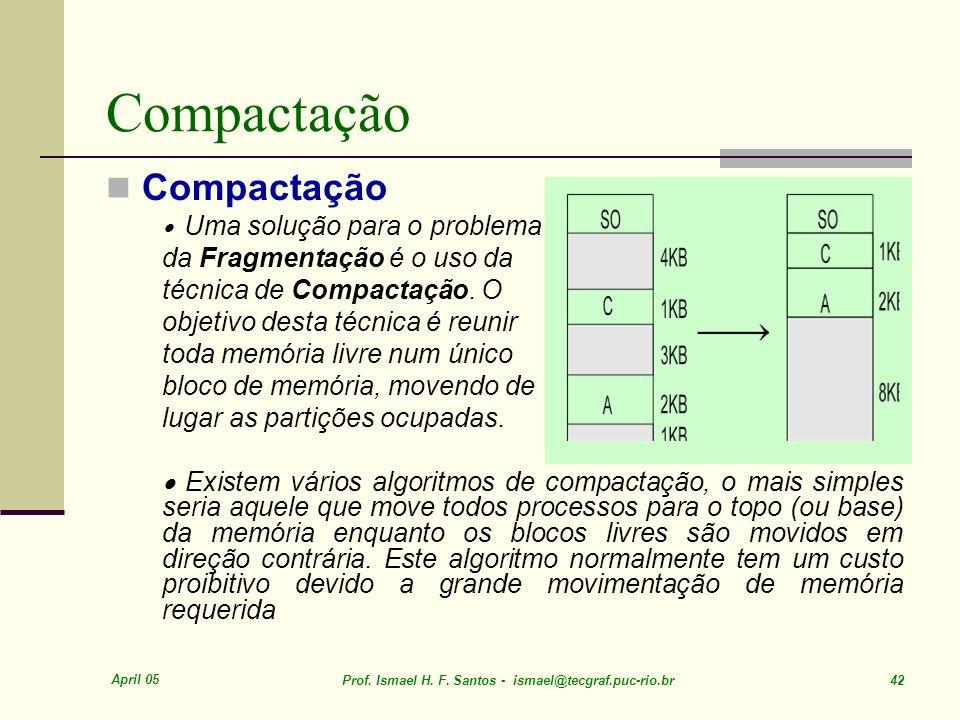 April 05 Prof. Ismael H. F. Santos - ismael@tecgraf.puc-rio.br 42 Compactação Uma solução para o problema da Fragmentação é o uso da técnica de Compac