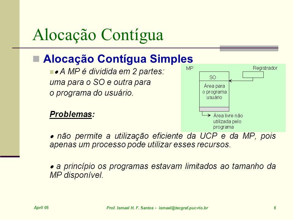 April 05 Prof. Ismael H. F. Santos - ismael@tecgraf.puc-rio.br 6 Alocação Contígua Alocação Contígua Simples A MP é dividida em 2 partes: uma para o S
