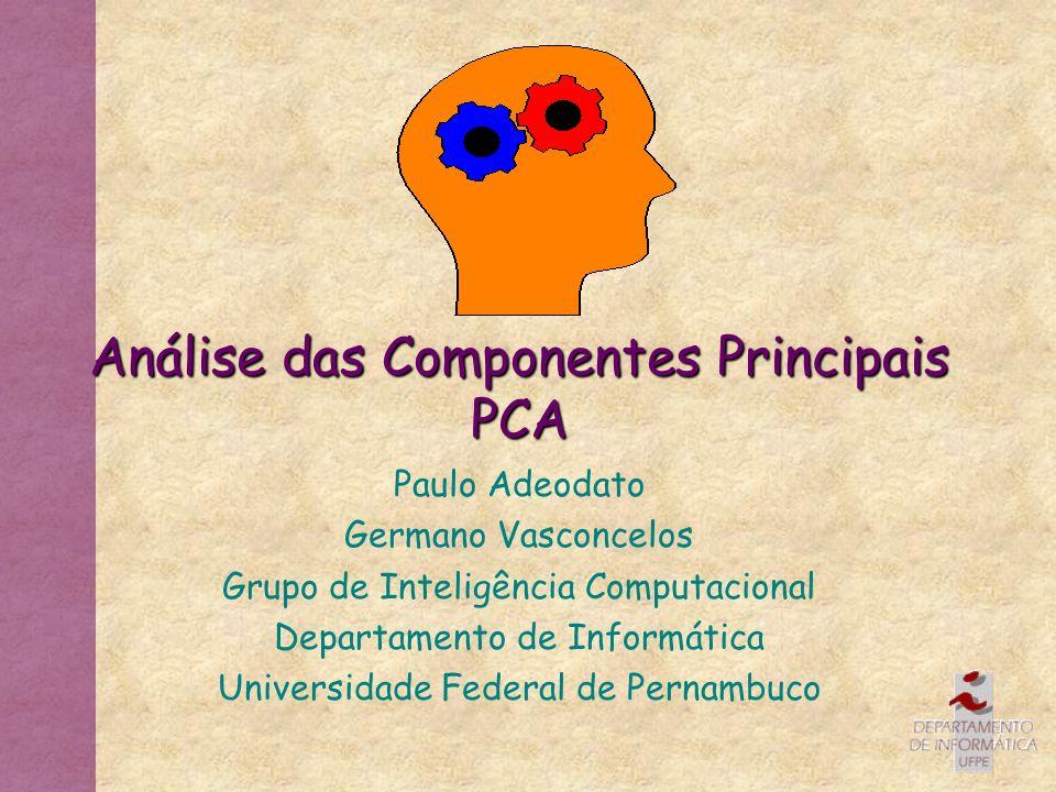 Análise das Componentes Principais PCA Paulo Adeodato Germano Vasconcelos Grupo de Inteligência Computacional Departamento de Informática Universidade