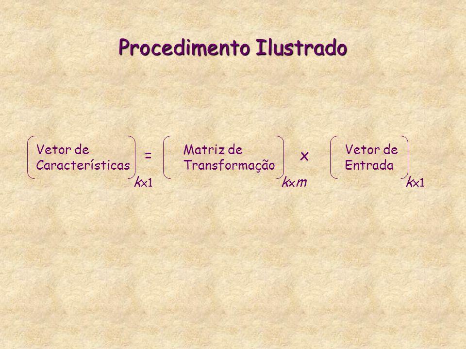 Procedimento Ilustrado =x Vetor de Características k x1 Matriz de Transformação kxmkxm Vetor de Entrada k x1