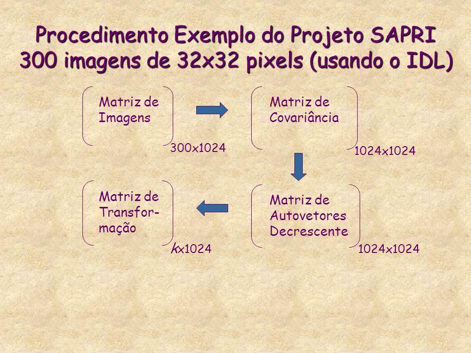 Procedimento Exemplo do Projeto SAPRI 300 imagens de 32x32 pixels (usando o IDL) Matriz de Imagens 300x1024 Matriz de Covariância 1024x1024 Matriz de