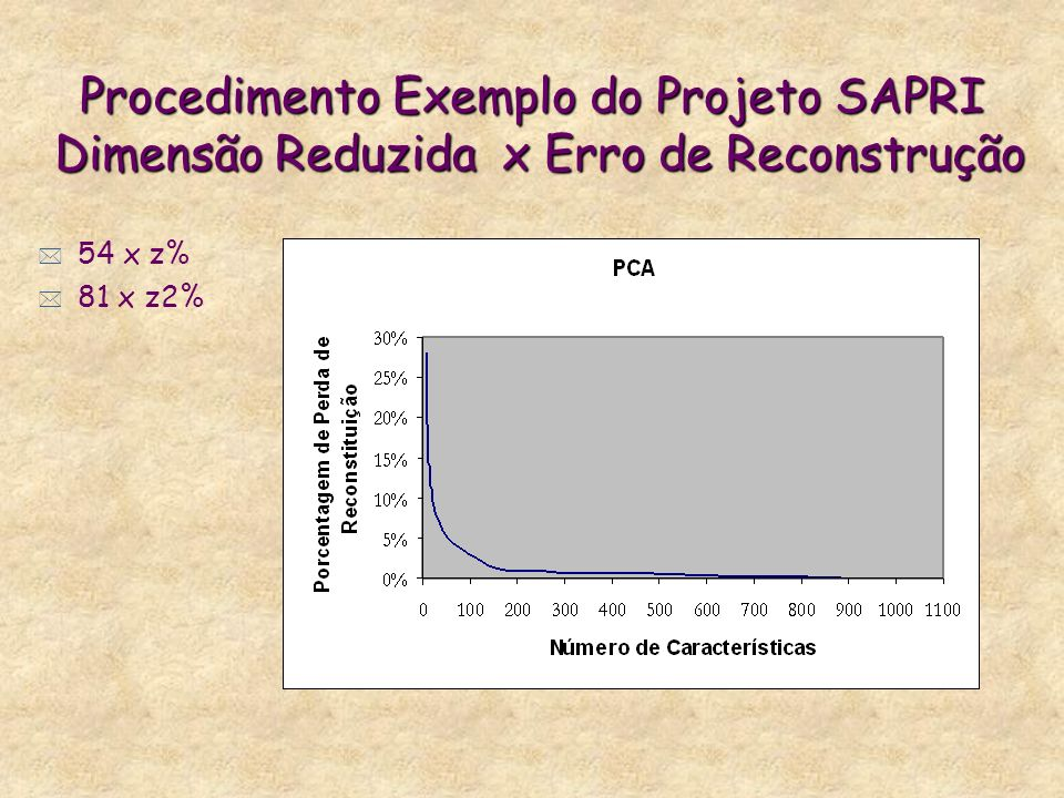 Procedimento Exemplo do Projeto SAPRI Dimensão Reduzida x Erro de Reconstrução * 54 x z% * 81 x z2%