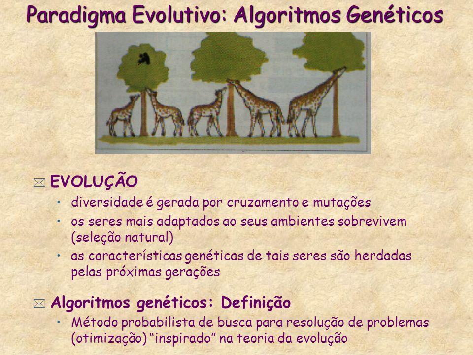 Paradigma Evolutivo: Algoritmos Genéticos * EVOLUÇÃO diversidade é gerada por cruzamento e mutações os seres mais adaptados ao seus ambientes sobrevivem (seleção natural) as características genéticas de tais seres são herdadas pelas próximas gerações * Algoritmos genéticos: Definição Método probabilista de busca para resolução de problemas (otimização) inspirado na teoria da evolução