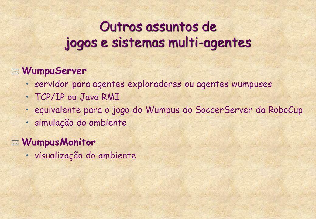 Outros assuntos de jogos e sistemas multi-agentes * WumpuServer servidor para agentes exploradores ou agentes wumpuses TCP/IP ou Java RMI equivalente