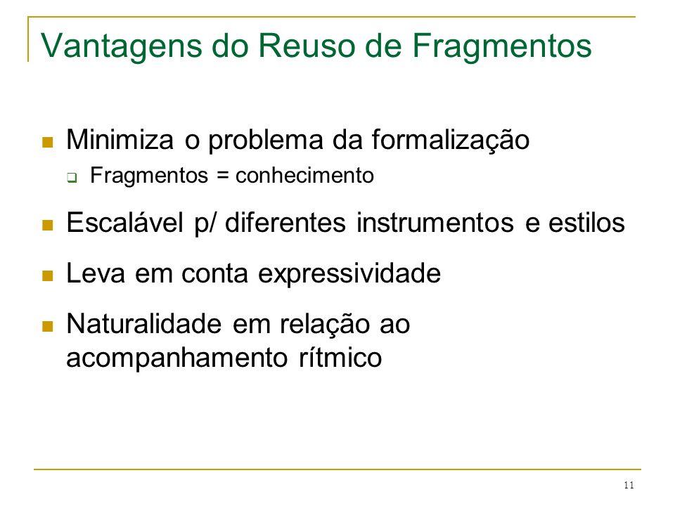 11 Vantagens do Reuso de Fragmentos Minimiza o problema da formalização Fragmentos = conhecimento Escalável p/ diferentes instrumentos e estilos Leva