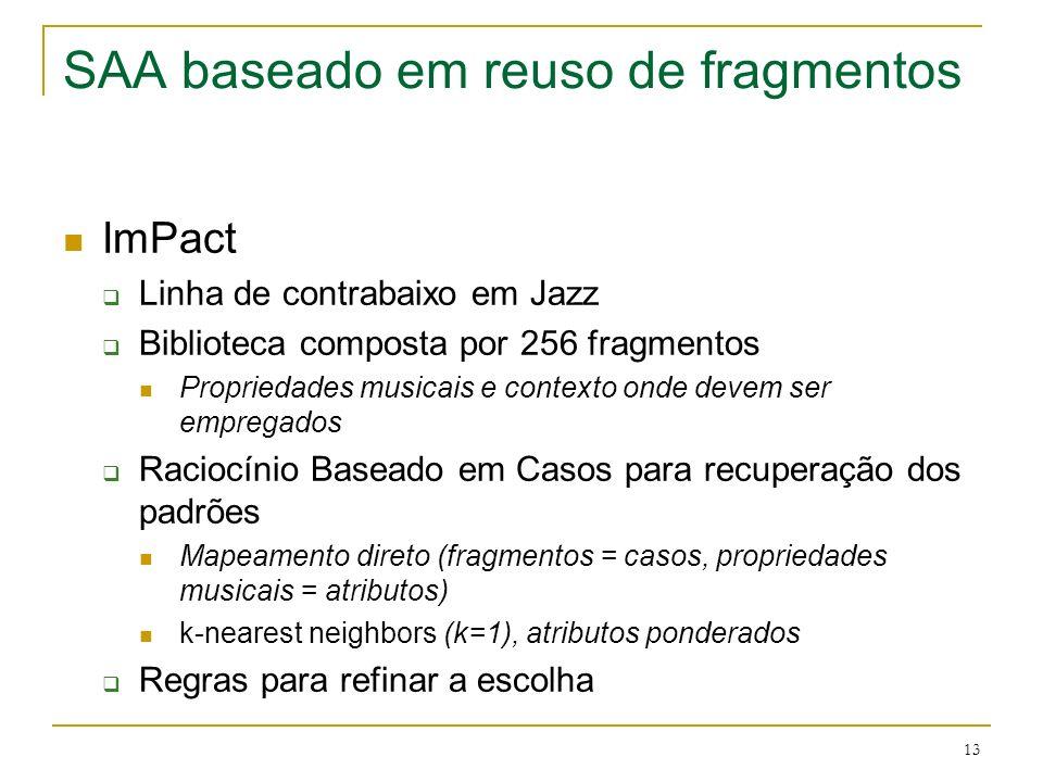 13 SAA baseado em reuso de fragmentos ImPact Linha de contrabaixo em Jazz Biblioteca composta por 256 fragmentos Propriedades musicais e contexto onde