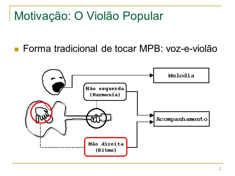 2 Motivação: O Violão Popular Forma tradicional de tocar MPB: voz-e-violão