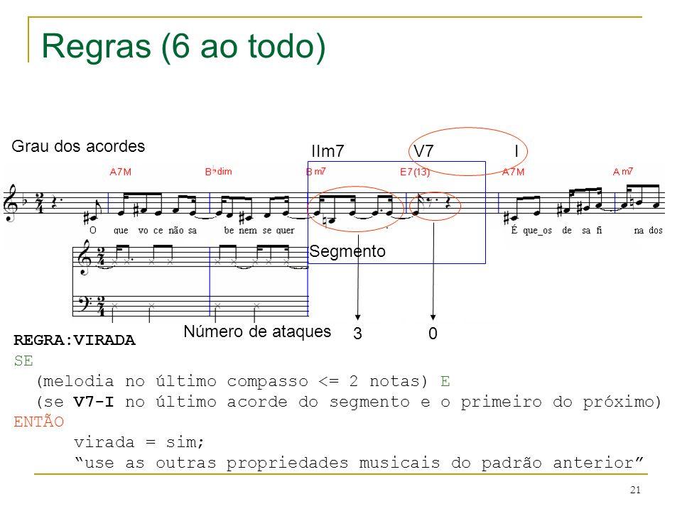 21 ? Regras (6 ao todo) IIm7V7 I Grau dos acordes Número de ataques Segmento 30 REGRA:VIRADA SE (melodia no último compasso <= 2 notas) E (se V7-I no