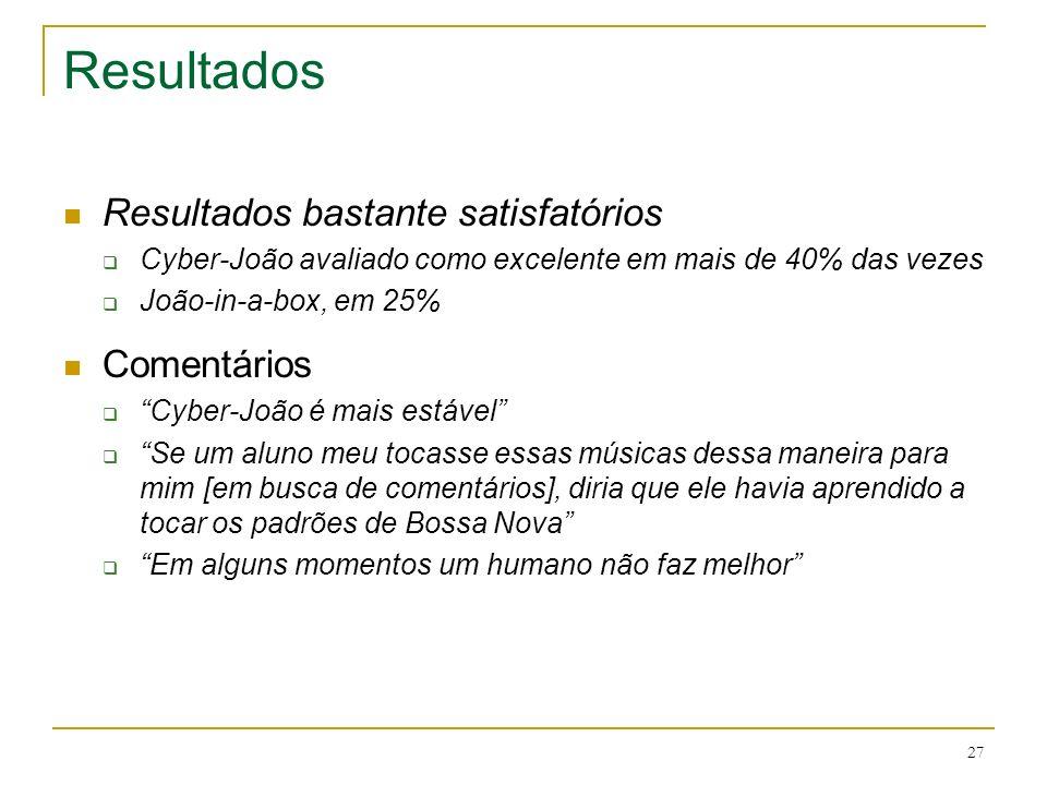 27 Resultados Resultados bastante satisfatórios Cyber-João avaliado como excelente em mais de 40% das vezes João-in-a-box, em 25% Comentários Cyber-Jo