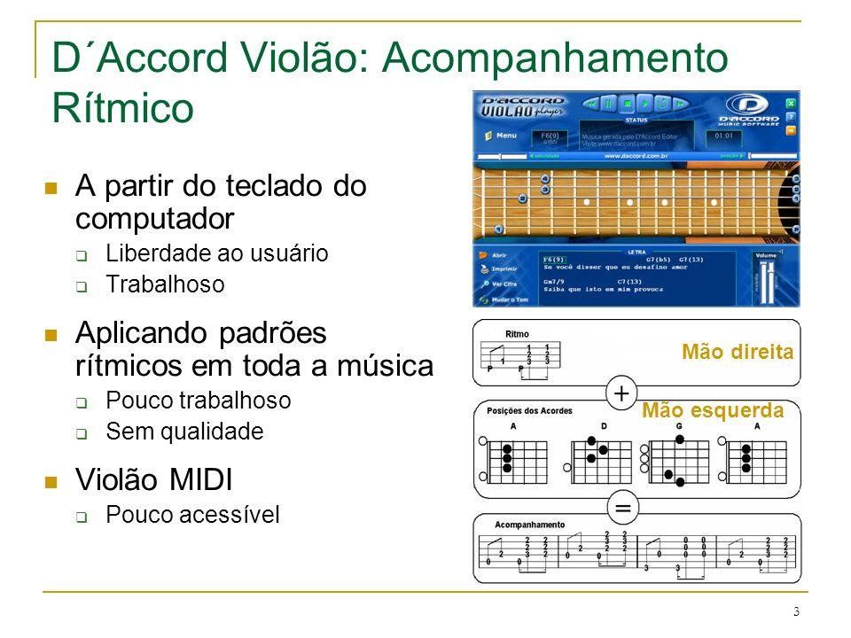 3 D´Accord Violão: Acompanhamento Rítmico A partir do teclado do computador Liberdade ao usuário Trabalhoso Aplicando padrões rítmicos em toda a músic