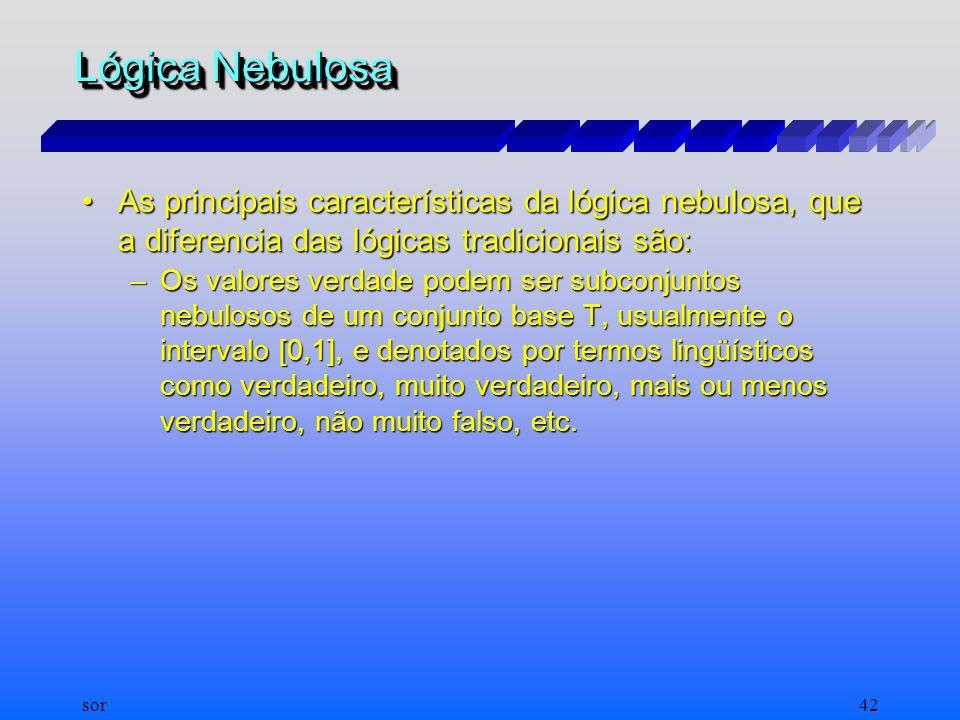 sor41 Lógica Nebulosa A lógica nebulosa pode ser vista em parte como uma extensão da lógica de valores múltiplos. É a lógica que trata de modelos de r