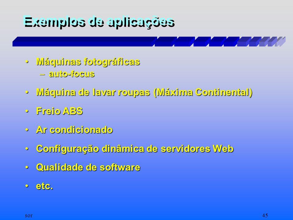 sor44 Estudo de Aplicações de IEEE em 1996 XAproximadamente 1100 aplicações de Lógica Fuzzy bem sucedidas são publicadas (estimado de 5% do total exis
