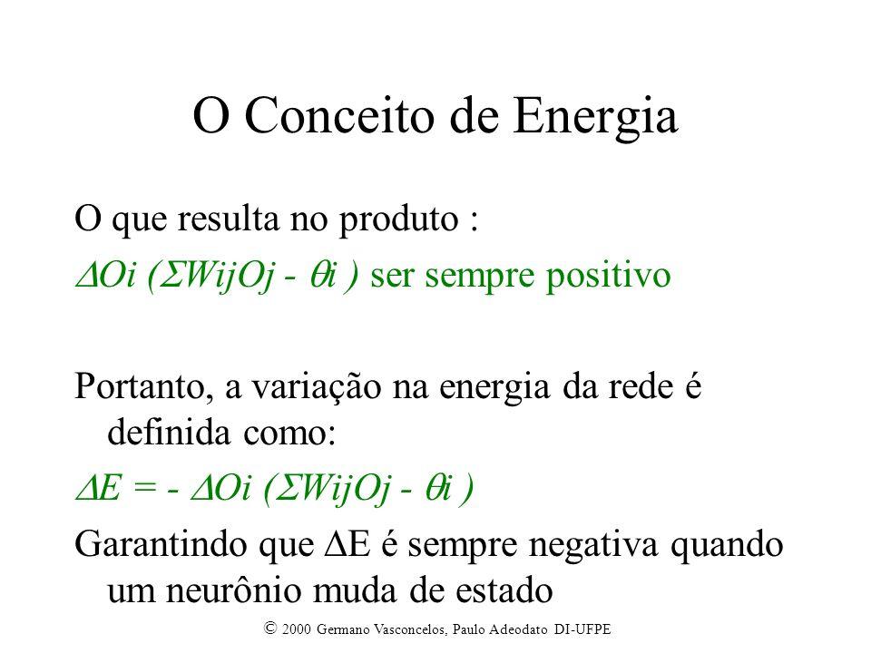 © 2000 Germano Vasconcelos, Paulo Adeodato DI-UFPE O Conceito de Energia O que resulta no produto : Oi ( WijOj - i ) ser sempre positivo Portanto, a variação na energia da rede é definida como: E = - Oi ( WijOj - i ) Garantindo que E é sempre negativa quando um neurônio muda de estado