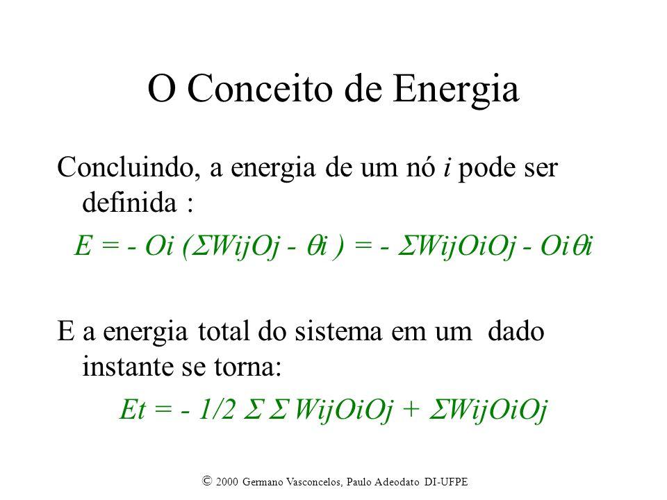 © 2000 Germano Vasconcelos, Paulo Adeodato DI-UFPE O Conceito de Energia Concluindo, a energia de um nó i pode ser definida : E = - Oi ( WijOj - i ) = - WijOiOj - Oi i E a energia total do sistema em um dado instante se torna: Et = - 1/2 WijOiOj + WijOiOj