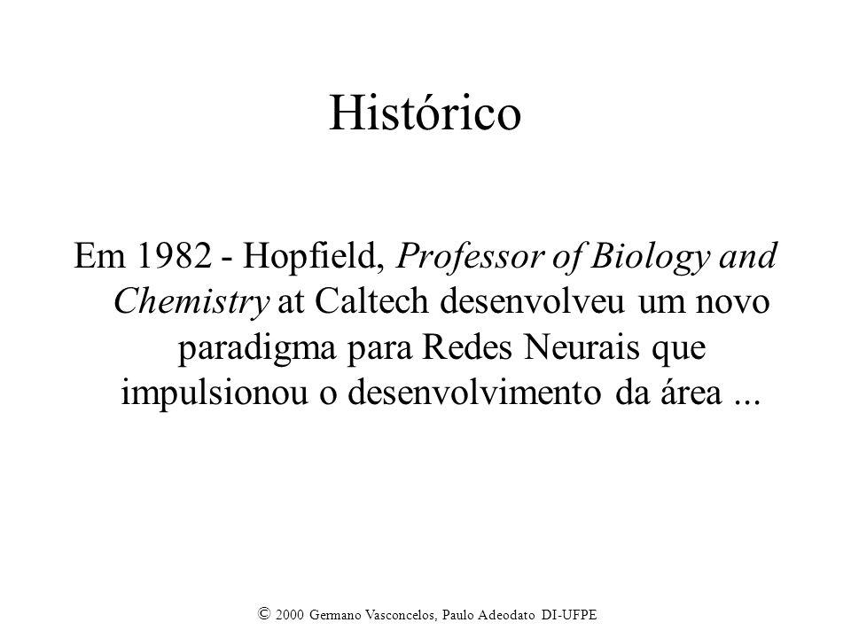 © 2000 Germano Vasconcelos, Paulo Adeodato DI-UFPE Histórico Em 1982 - Hopfield, Professor of Biology and Chemistry at Caltech desenvolveu um novo paradigma para Redes Neurais que impulsionou o desenvolvimento da área...