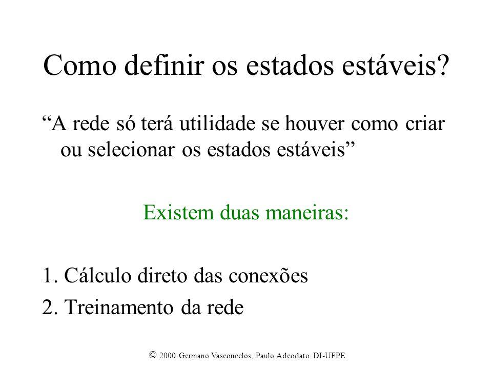 © 2000 Germano Vasconcelos, Paulo Adeodato DI-UFPE Como definir os estados estáveis? A rede só terá utilidade se houver como criar ou selecionar os es