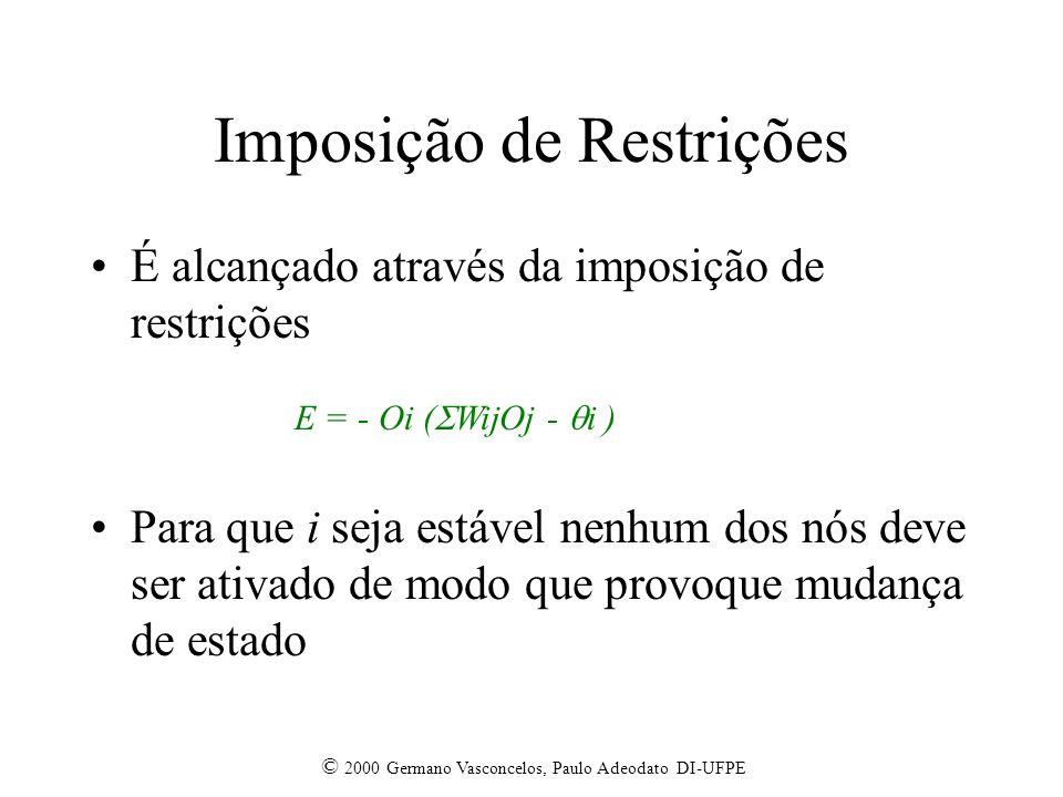 © 2000 Germano Vasconcelos, Paulo Adeodato DI-UFPE Imposição de Restrições É alcançado através da imposição de restrições Para que i seja estável nenhum dos nós deve ser ativado de modo que provoque mudança de estado E = - Oi ( WijOj - i )