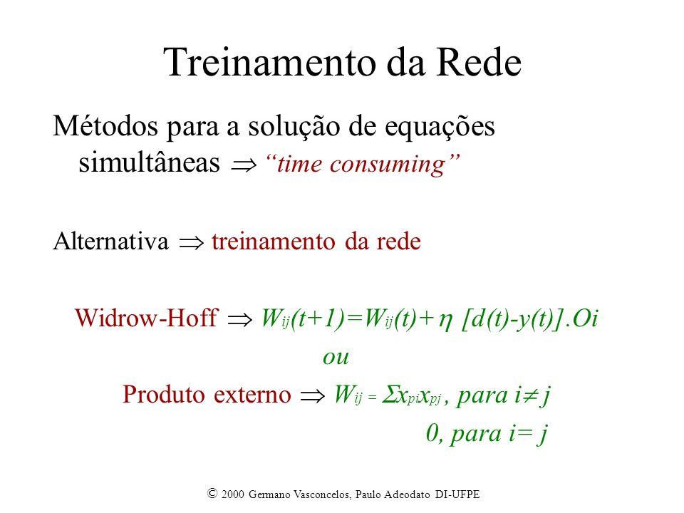© 2000 Germano Vasconcelos, Paulo Adeodato DI-UFPE Treinamento da Rede Métodos para a solução de equações simultâneas time consuming Alternativa treinamento da rede Widrow-Hoff W ij (t+1)=W ij (t)+ [d(t)-y(t)].Oi ou Produto externo W ij = x pi x pj, para i j 0, para i= j