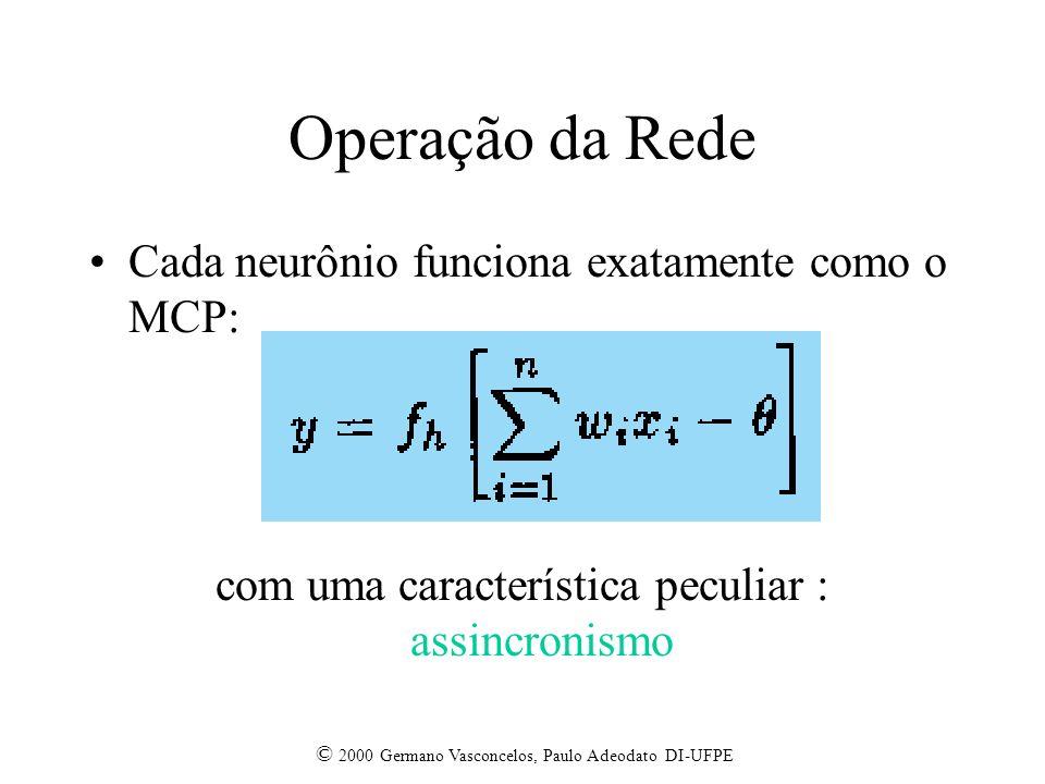 © 2000 Germano Vasconcelos, Paulo Adeodato DI-UFPE Operação da Rede Cada neurônio funciona exatamente como o MCP: com uma característica peculiar : as