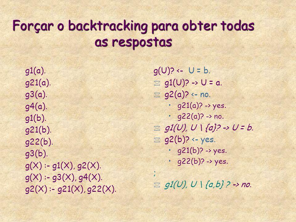 Forçar o backtracking para obter todas as respostas g1(a).