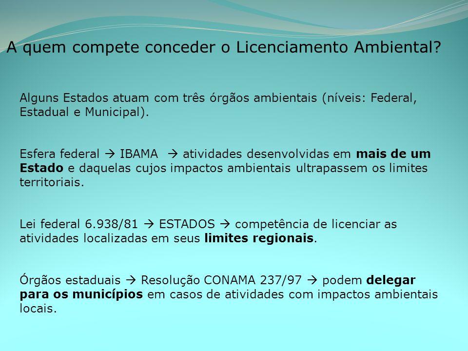 A quem compete conceder o Licenciamento Ambiental.