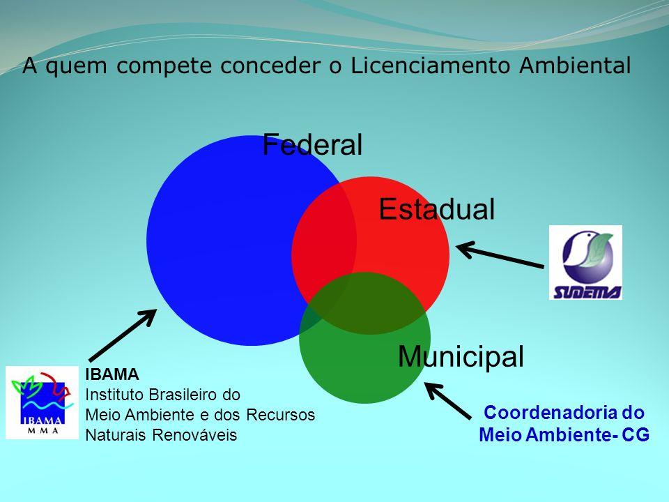 A quem compete conceder o Licenciamento Ambiental Estadual Municipal Federal IBAMA Instituto Brasileiro do Meio Ambiente e dos Recursos Naturais Renováveis Coordenadoria do Meio Ambiente- CG