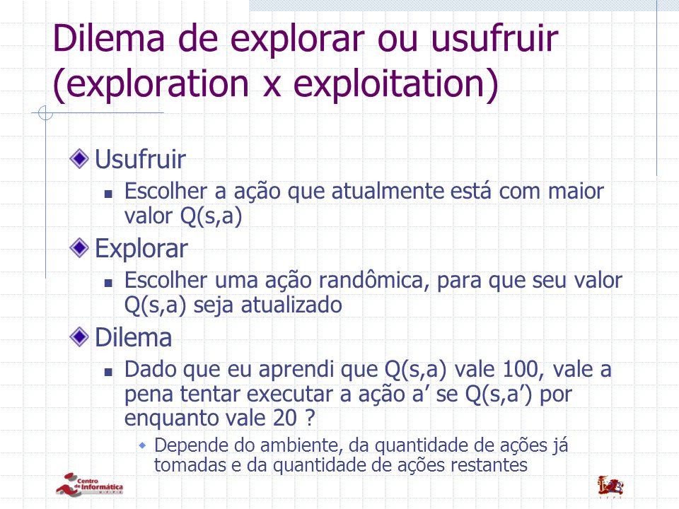 23 Dilema de explorar ou usufruir (exploration x exploitation) Usufruir Escolher a ação que atualmente está com maior valor Q(s,a) Explorar Escolher u